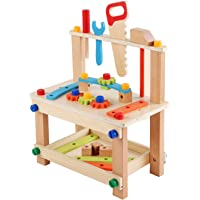 Generic Solid Wood Tool Stand Set for Toddlers and Kids, Wooden Workbench Toy Birthday Boys Girls for 3 Year Old and Up…