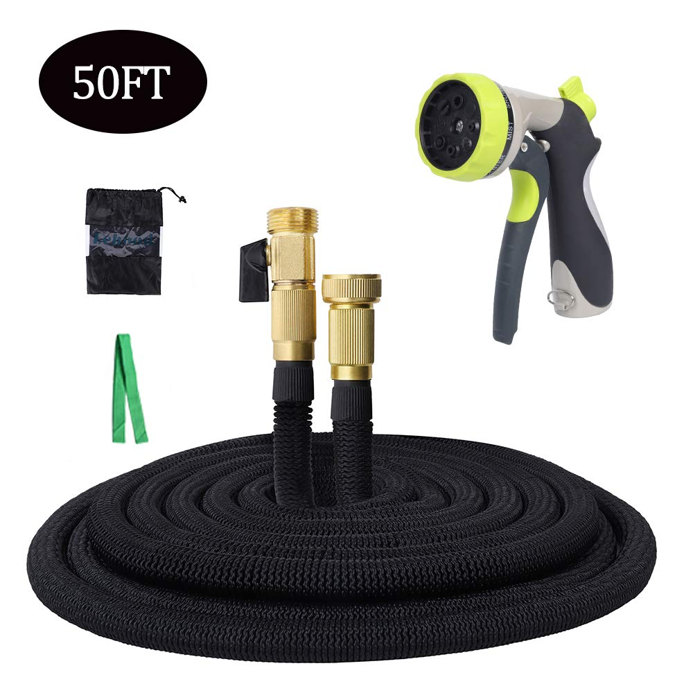"Expandable Garden Hose, 50ft Flexible Water Hose with 3/4"" Solid Fittings, Double Latex Core, Metal Anti-Leak 8 Pattern Hose Nozzle"