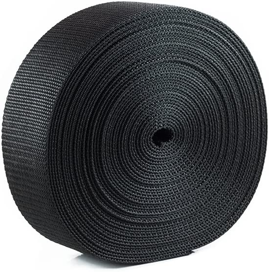 Houseables Webbing Strap, Polypro, Polypropylene Heavy Flat Strapping, 2 Inch W x 25 Yards (Two 12.5 Yard Rolls), Black, UV Resistant Fabric, Waterproof for Bags, Canoe Seat, Furniture, Slings