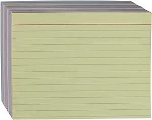 "AmazonBasics Ruled Color Index Cards, 4"" x 6"", 300 Cards"