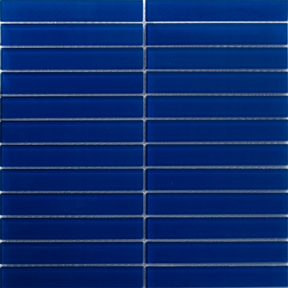Susan Jablon Mosaics 1x6 Inch Navy Blue Subway Glass Tile