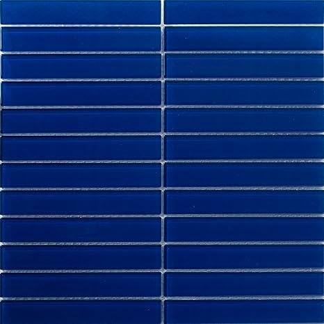 Susan Jablon Mosaics 1x6 Inch Navy Blue Subway Glass Tile