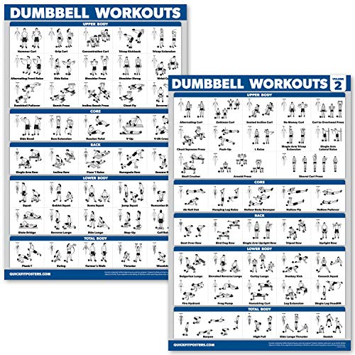 QuickFit 2 Pack Dumbbell Workout Exercise Poster - Volume 1 & 2 (Laminated, 18