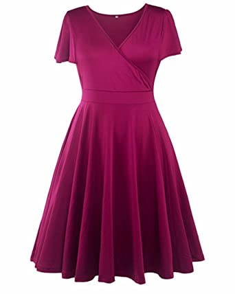 572c6c950df749 BIUBIU Damen A-Linie 50er Retro Rockabilly Kleid Knielang Abendkleid Große  Größen #2 Lila