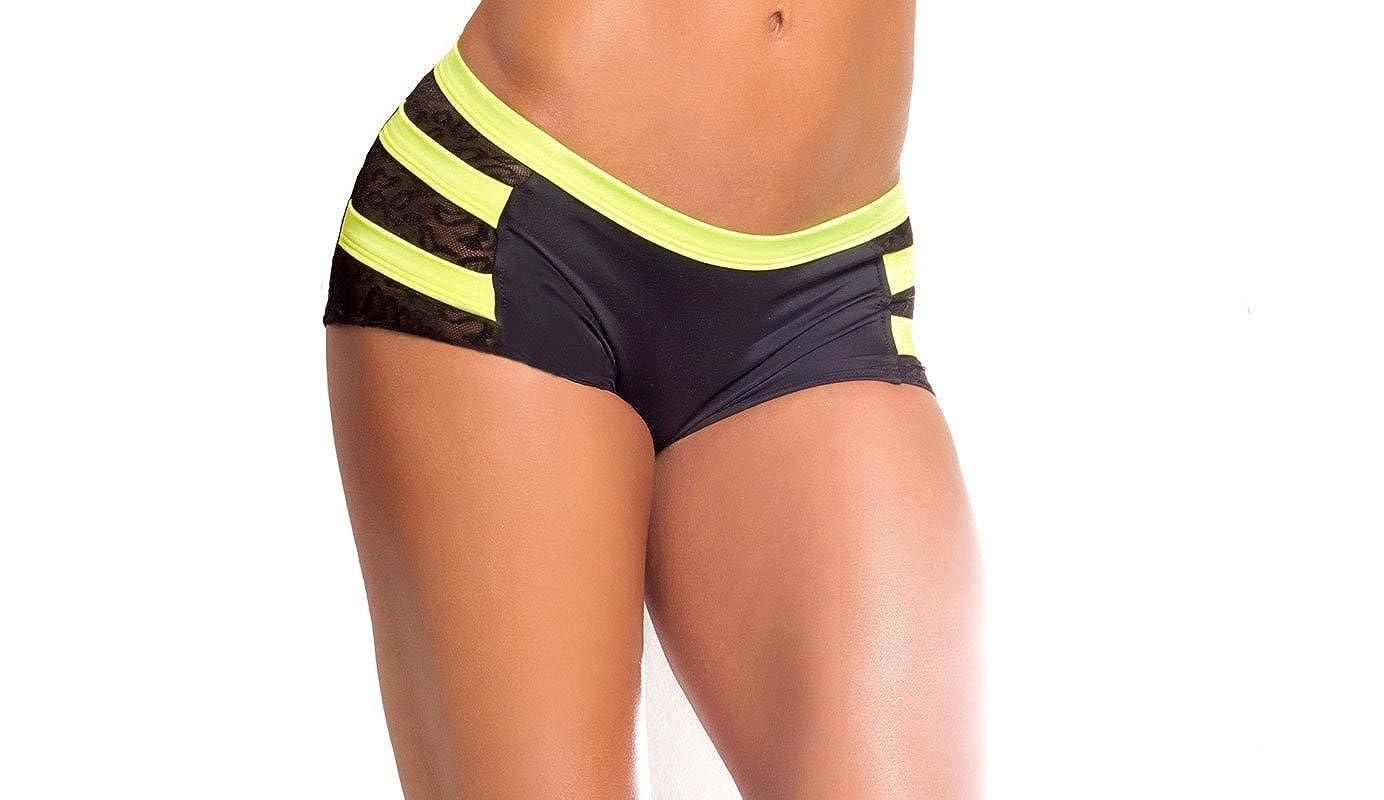 5994c083016 Amazon.com: BodyZone Apparel Yoga & Fitness Archer Scrunch Back Short.  Black/Neon Yellow. Medium/Large. Made in the USA.: Clothing