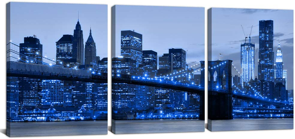 3 Piece Blue New York City Canvas Wall Decor Cityscape Art Prints Brooklyn Bridge Pictures Poster NYC Night Skyline Painting for Bedroom Bathroom Home Wall Art Ready to Hang 12