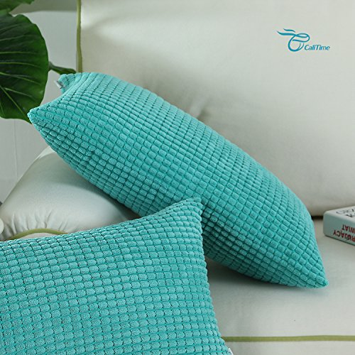 Pack of 2, CaliTime Bolster Pillow Covers Cases for Couch Sofa Bed, Comfortable Supersoft Corduroy Corn Striped Both Sides, 12 X 20 Inches, Turquoise