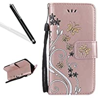 Leecase Magnetic Closure Pu Leather Wallet Flip Strap Bookstyle Pretty Embossing Flower Butterfly Design Card Slots Protective Stand Case Cover for iPhone 7 Plus 5.5