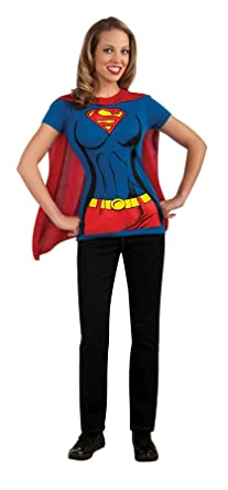 0c58fb35d32 Image Unavailable. Image not available for. Color  Rubies Womens Dc Comics  Supergirl T-Shirt Top Cape Halloween ...