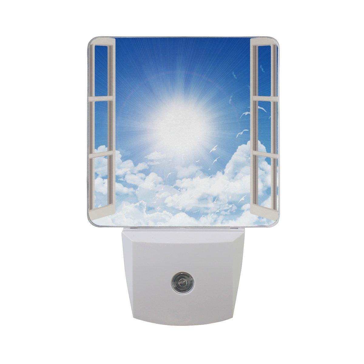 2 Pack 0.5W Open Window Printing Plug-in LED Night Light Lamp with Dusk to Dawn Sensor for Bedroom, Bathroom, Hallway, Stairways