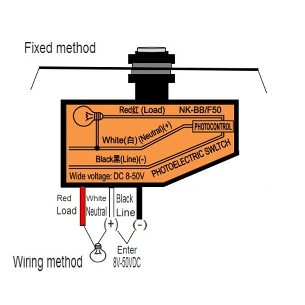Gouptec Led Light Sensor Switch Control With Photocell 8 The See Diagram For How To Wire This Unit 50vdc