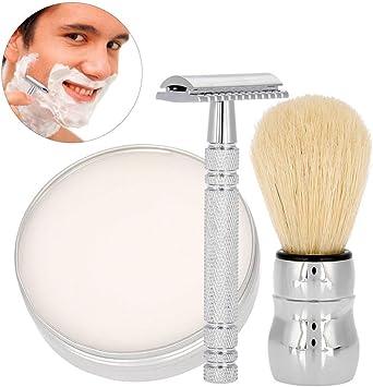 Brocha para barba, afeitadoras manuales para hombre con jabón de ...