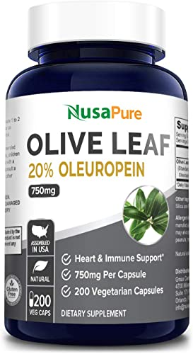 Olive Leaf Extract 20 200 Caps Non-GMO Gluten Free 750 mg – Oleuropein – Vegetarian – Super Strength – Immune Support, Cardiovascular Health Antioxidant Supplement – No Oil