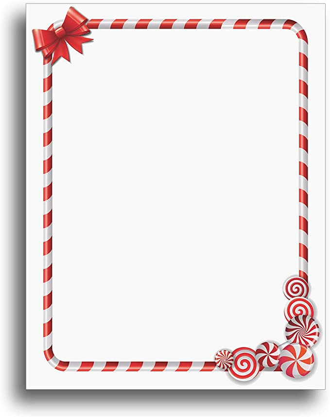 80 Count 8.5 x 11 2019107 Minty Candy Canes Letterhead Great Papers