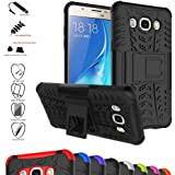 Galaxy J5 2016 Case,Mama Mouth Shockproof Heavy Duty Combo Hybrid Rugged Dual Layer Grip Cover with Kickstand For Samsung Galaxy J5 J510 2016 Smartphone(With 4 in 1 Free Gift Packaged),Black