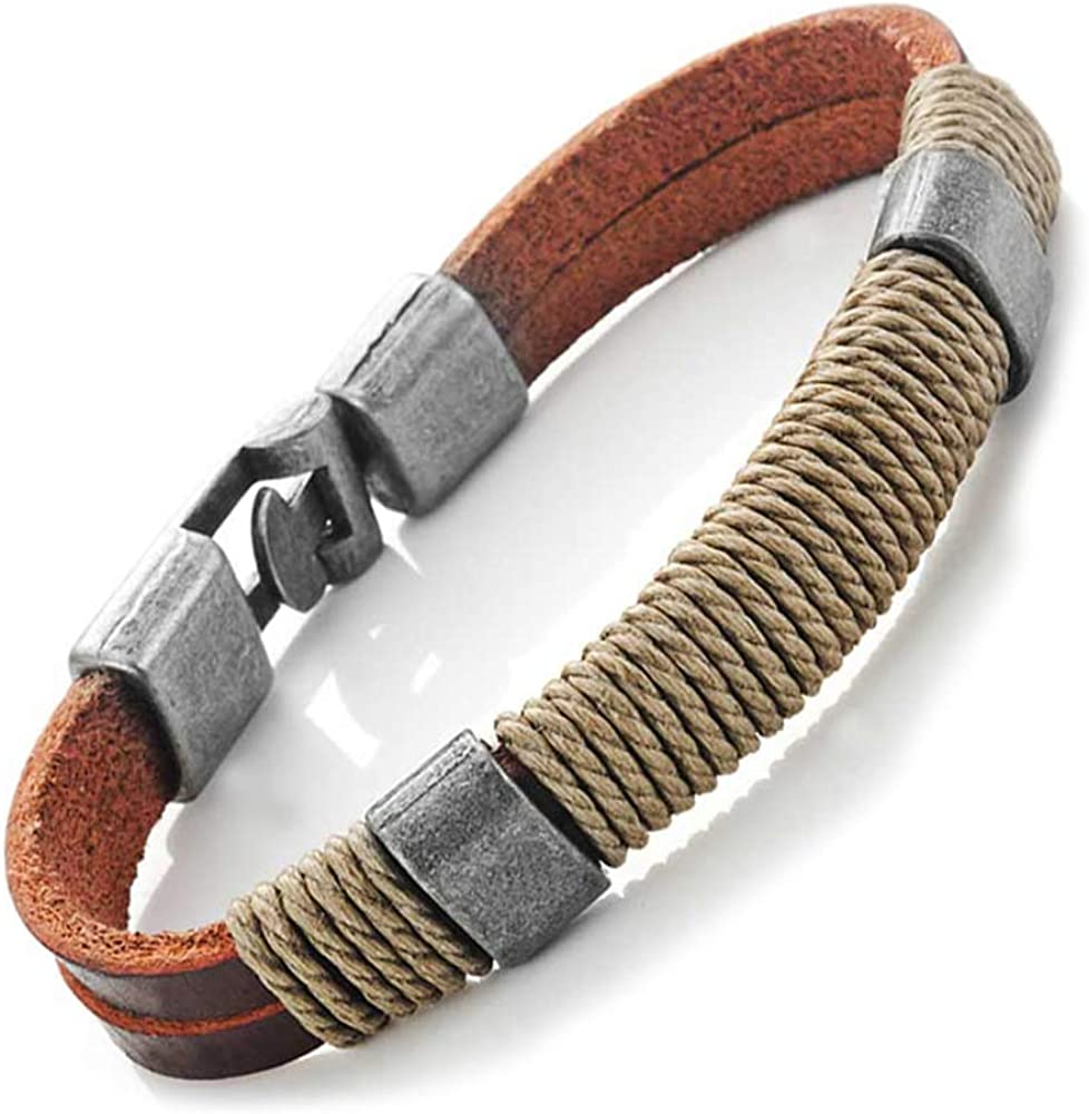 """URBAN JEWELRY Dark Brown Leather Wound-Around Nature Thread Bracelet for Him and Her, Unisex, Leather, 8"""""""