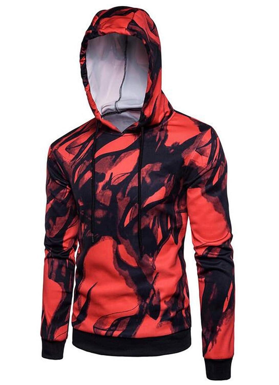 UUYUK Men Autumn Cozy Digital Printed Outwear Splash-Ink Hoodie Jacket