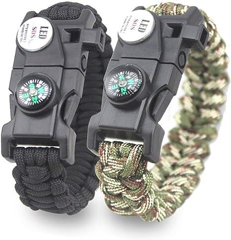 Pack de 2 pulseras de supervivencia multifuncional paracord ...