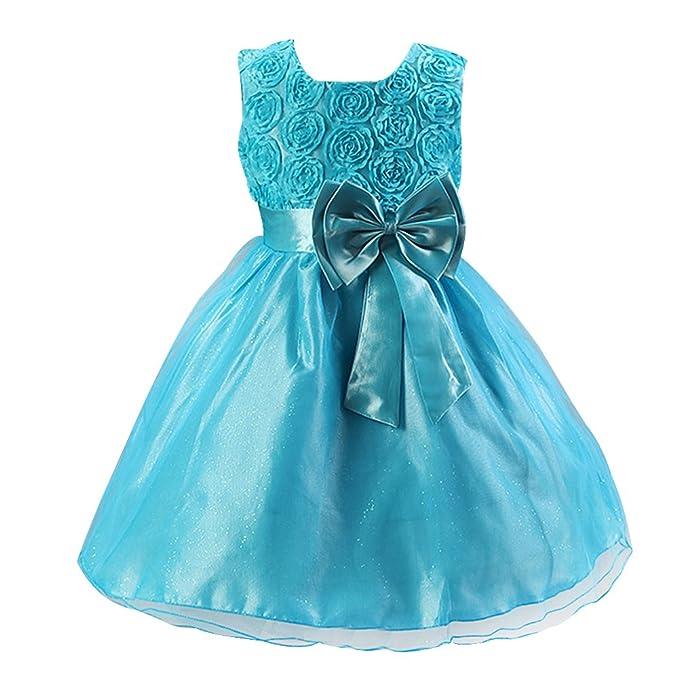 LSERVER-Vestidos de Rosa Princesa con Las flores de La Boda Para Las Niñas Azul