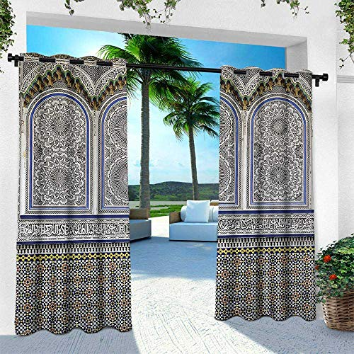 Hengshu Arabian, for Front Porch Covered Patio Gazebo Dock Beach Home,Nostalgic Moroccan Architecture Stone Carving and Motifs Majestic Ottoman Empire, W120 x L108 Inch, Multicolor