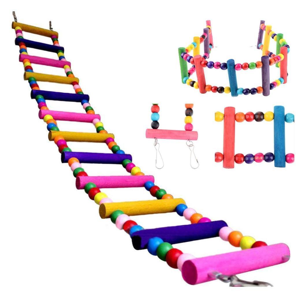 Oiseaux Jouet Perchoir Perroquet Oiseau pont tournant en bois Ladder Grimpez Calopsitte perruche perruche Jouets pour animaux (XS-37cm, multicolore) Kolylong