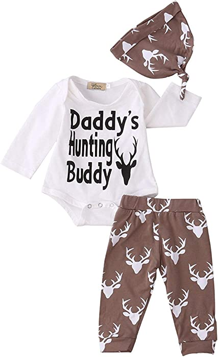 c62d5ce09 3Pcs Cute Funny Daddy's Hunting Buddy Outfits Set Onesie Newborn Baby Girl  Boy Bodysuits Long Sleeve