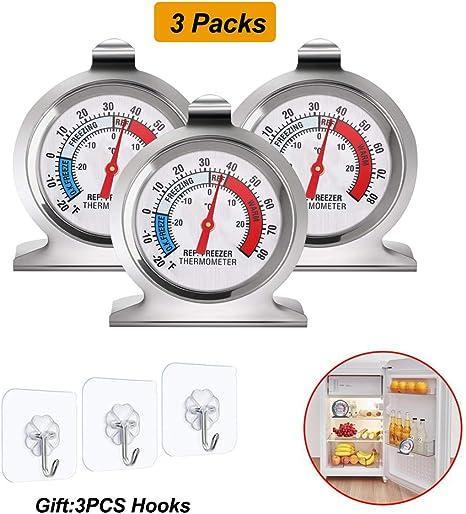 Oferta amazon: Lifreer Termómetros de Nevera 3PCS Acero Inoxidable Refrigerador Congelador Termómetros Termómetro de Temperatura para Hogar, Restaurantes Congelador, 3PCS Ganchos Transparentes