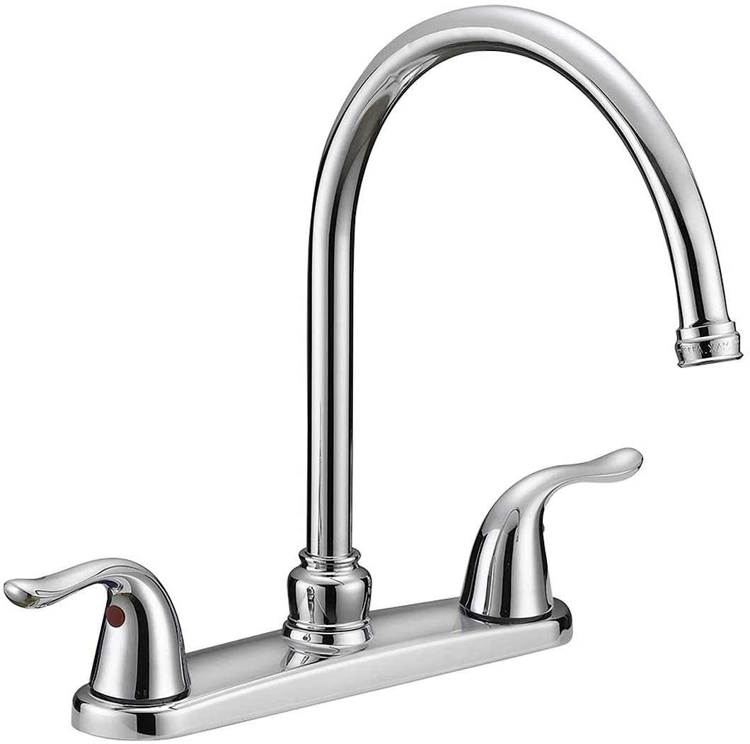 Ez Flo 10201 2 Handle Kitchen Faucet With Pull Out Side Sprayer Chrome 4 Hole Installation Kitchen Sink Faucets Amazon Com