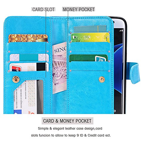 Galaxy S7 Edge circumstance Asstar Card Cash SlotsBuilt in 9 Slots Heavy task Protective Shock immune Luxury PU Leather circumstance jump Cover circumstance for Samsung Galaxy S7 Edge BLUE contact Charms