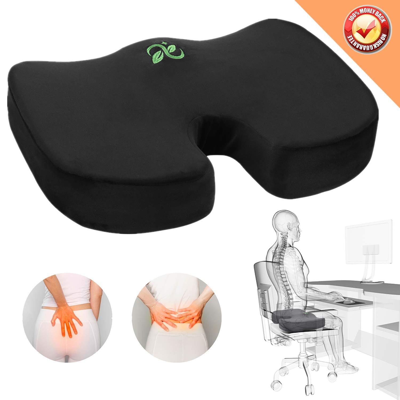 Coccyx Seat Cushion Orthopedic Memory Foam Car Seat Cushion Comfort Chair Tailbone Pillow Non-Slip Hip Back Sciatica Pain Pressure Relief Seat Cushion Office Pregnancy Travel Sit Black Seat Cushion by Colix