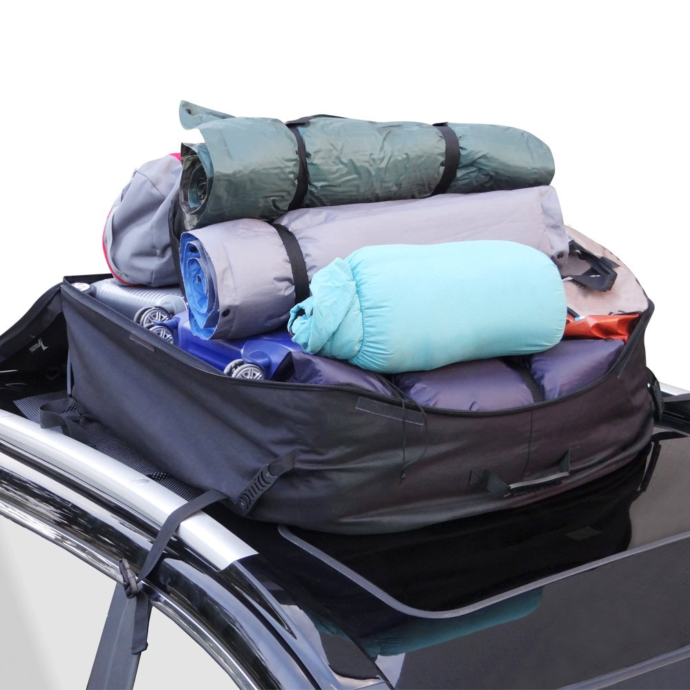 YOULERBU Roof Cargo Carrier 16 Cubic Feet Car Top Carrier with Roof Mat and Lock, Cargo Roof Bag with Rain Cover, Perfect for Vehicle Van SUV without Racks or with Raised Side Rails