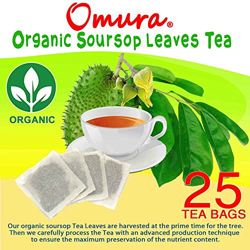 ORGANIC Omura SOURSOP LEAVES HERBAL TEA 100% Natural Graviola Leaves (25 Tea Bags)