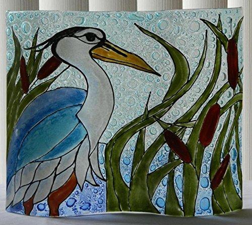 Blue Heron In Marsh Wavy Fused Art Glass Bird Lodge Decor Made In Ecuador