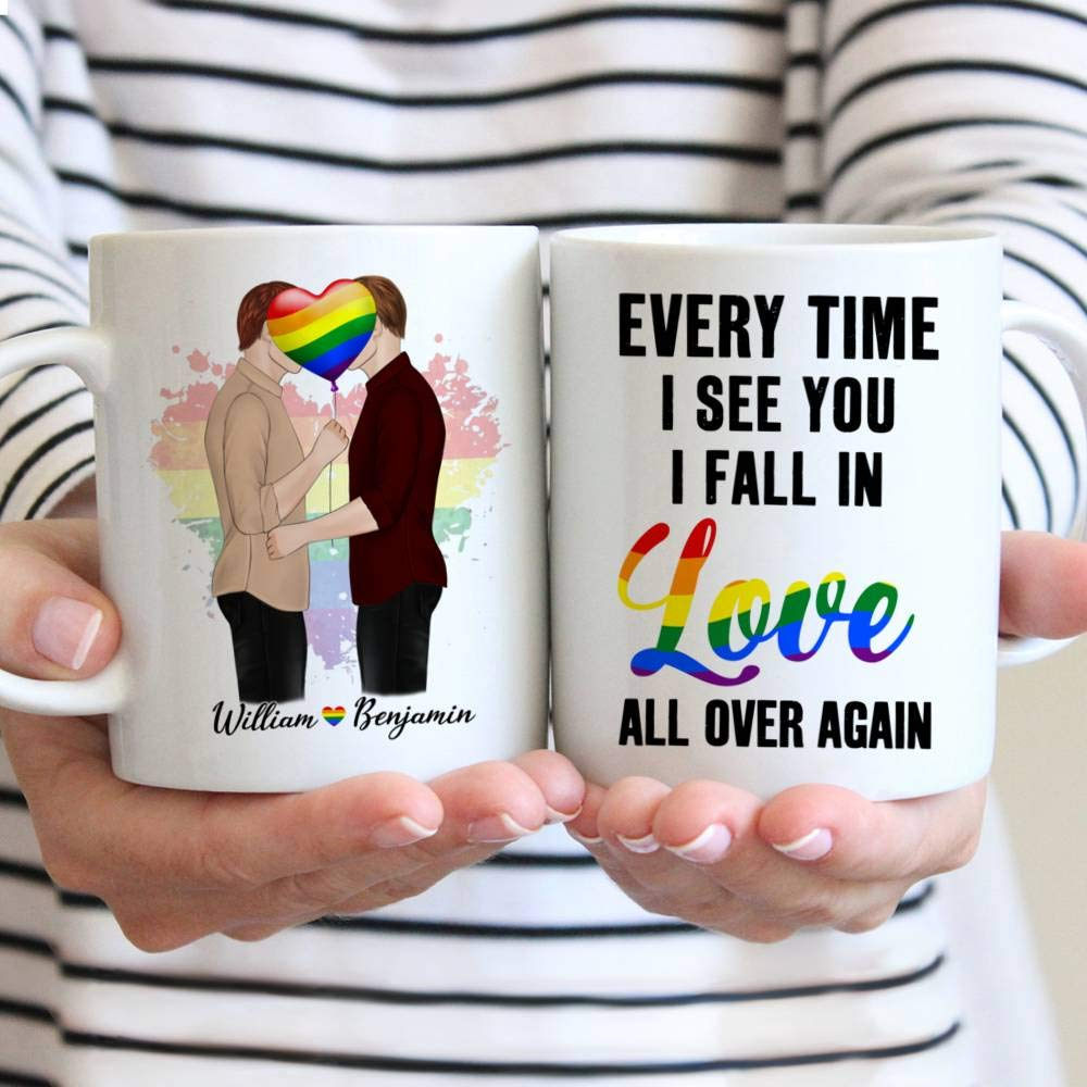 Personalized Couple Mug Every Time I See You I Fall In Love All Over Again Gay Couple Kissing Gift Christmas Mug Customize Name Ceramic Cup, Hot and Cold Drink Home