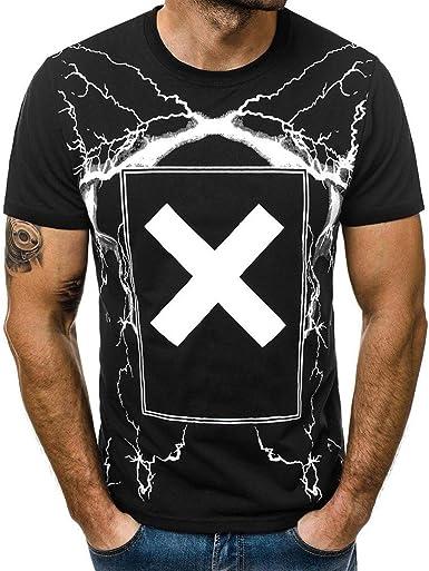 Cruzar Camisetas Hombres Hombre Camisetas Manga Corta Cuello Redondo algodón Camisas: Amazon.es: Ropa y accesorios