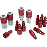 ColorConnex Coupler & Plug Kit (14 Piece), Industrial Type D, 1/4 in. NPT, Red - A73458D
