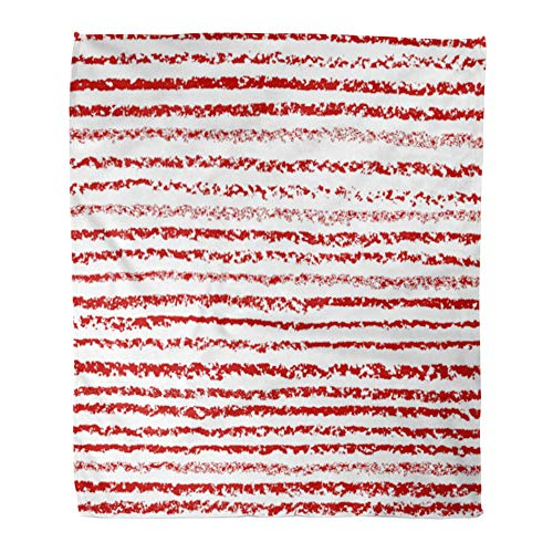 Emvency Throw Blanket Warm Cozy Print Flannel Colorful Brush Pastel Chalk Crayon Red Stroke Stripes on White Straight Comfortable Soft for Bed Sofa and Couch 60x80 Inches ()