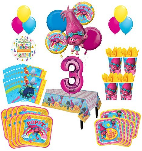 Trolls Poppy 3rd Birthday Party Supplies 8 Guest Kit and Balloon Bouquet Decorations