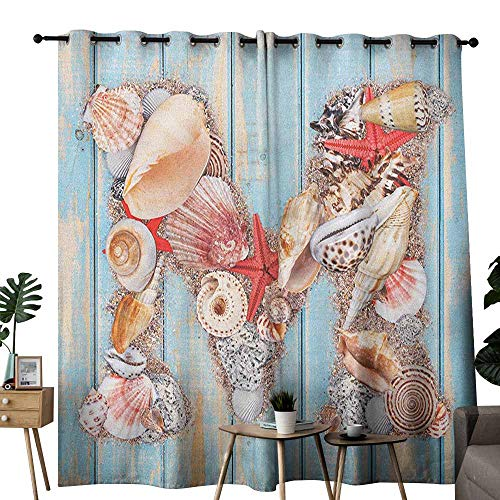 duommhome Letter M Polyester Curtain Aquatic Inspirations with a Wooden Background Ocean Pale Colored Darkening and Thermal Insulating W120 x L96 Pale Blue Ivory Dark Coral