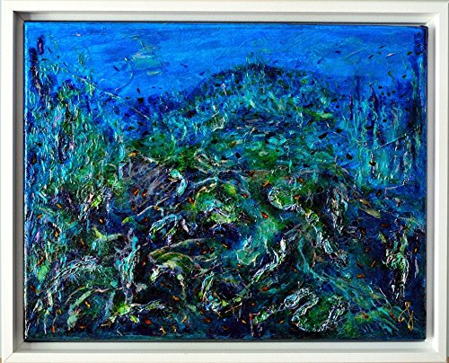 (Free Ship - Reef in Cozumel Acrylic & Vitrail on canvas 11