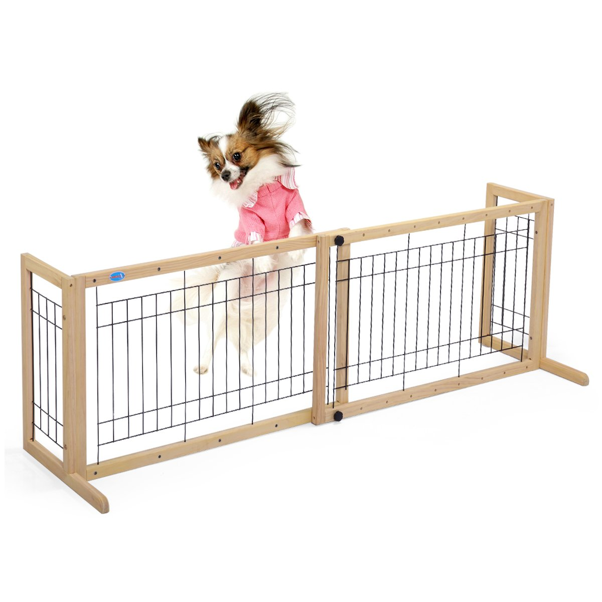LAZYMOON Dog Gate Adjustable Indoor Solid Wood Construction Pet Fence Gate Free Standing Natural Finish