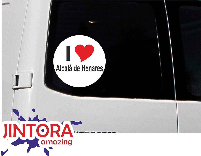 JINTORA - Adesivo/adesivo Auto I Love Heart - I Love Alcalá de Henares - JDM/Die Cut/OEM - Lunotto posteriore - Auto - portatile - esterno, Rotondo, misura: 80mm