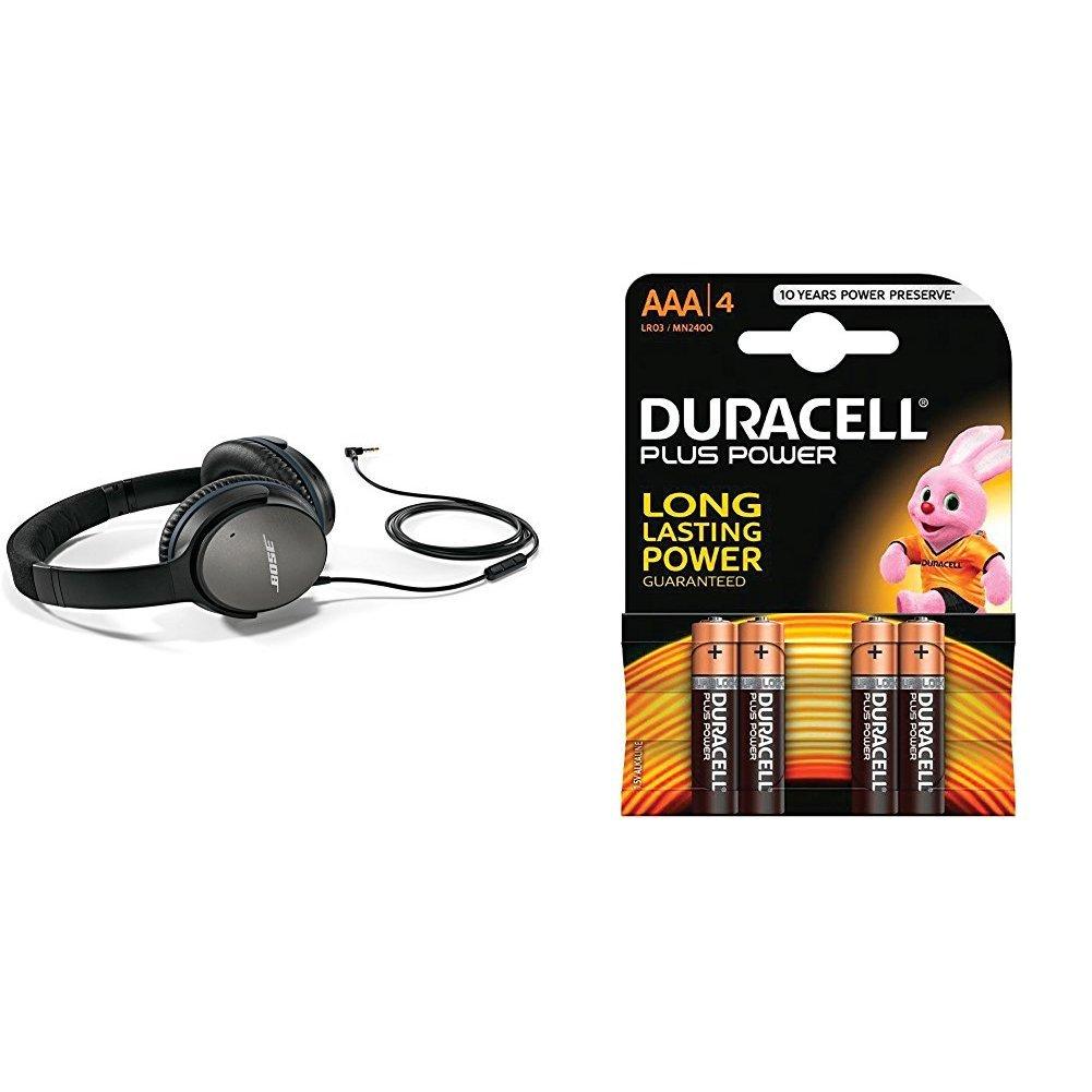 Bose QuietComfort 25 - Auriculares de diadema cerrados (con cancelación de ruido, Apple versión), negro + Duracell Plus Power Pilas Alcalinas AAA, paquete de 4