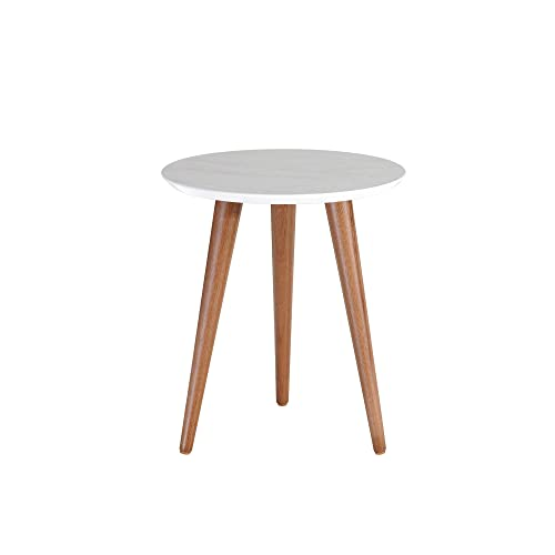 Manhattan Comfort Moore Mid-Century Modern Round End Table with Splayed Legs, Grey