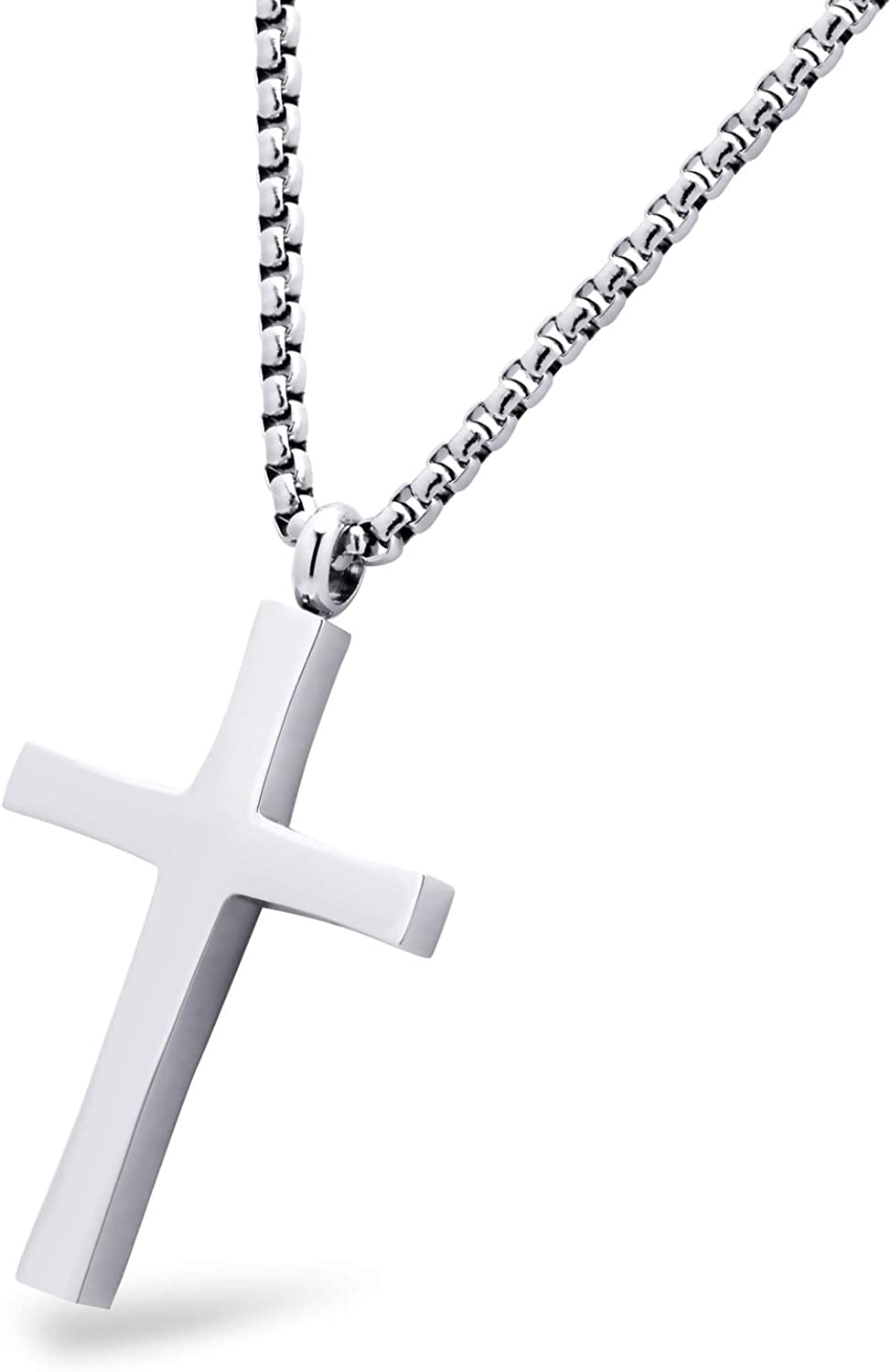 555Jewelry Stainless Steel Cross Adjustable Rolo Chain Pendant Necklace 16-28'' Inches