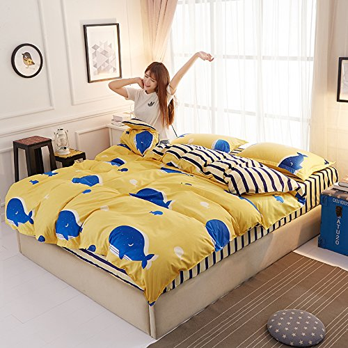 Summer Cotton student quilt cover, bedsheet student dormitory bedclothes pure cotton four piece set.-K1-King