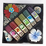 kornkorn87 Thai Mix 6 Scent Relax Sticks Incense Spa Aroma Fragrance Cones Burner Ceramic Holder