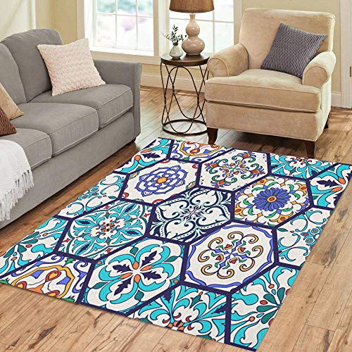 Semtomn Area Rug 2' X 3' Beautiful Mega Patchwork Pattern and Portuguese Tiles Azulejo Talavera Home Decor Collection Floor Rugs Carpet for Living Room Bedroom Dining Room