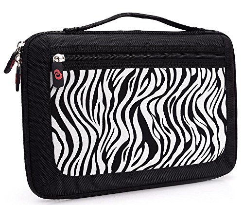 Zebra Print|NuVur Slim Brief case with zipper pocket tablet case fits Samsung Galaxy Tab 4 10.1 SM-T530, Tab A & S Pen, A 9.7 (Zebra Print Briefcases)