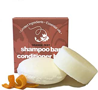Whiff Shampoo Bar & Conditioner Bar ORANGE ZEST Essential Oils, Limited Ingredients, No Colorings, Concentrated Formula, Made USA